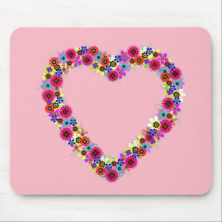 Floral Heart in Rose Pink Mouse Pad