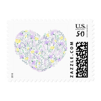 Floral Heart Lavender Purple And Yellow Flowers Postage