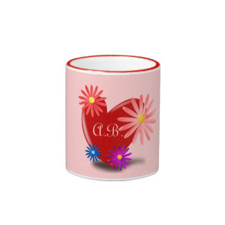 Floral Heart Monograms Mug