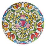 Floral Heart Mosaic Nouveau Plate