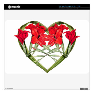 Floral Heart of Gladiola Flowers Skin Decal For The MacBook