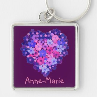 Floral Heart on Purple Custom Square Keychain