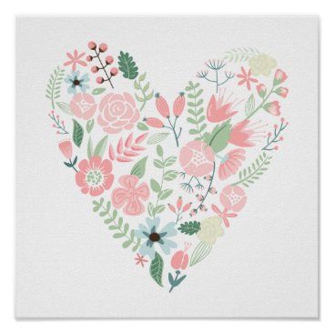 heartlocked Floral Heart Poster