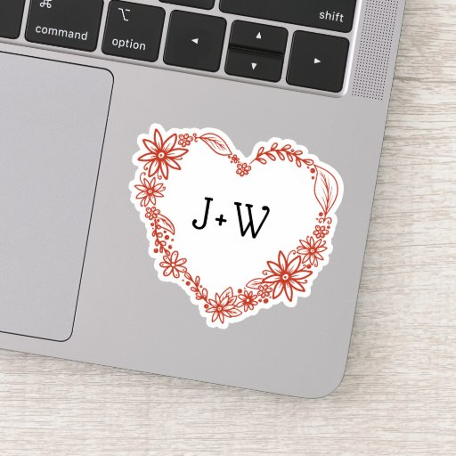 Floral Heart Shape Wreath Monogram Sticker