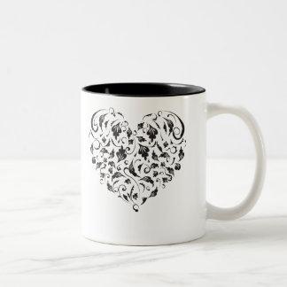 Floral heart Two-Tone coffee mug