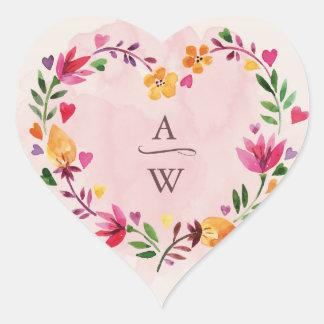 Floral Heart Watercolor Monogram Wreath Sticker