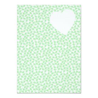 "Floral Heart Wedding Invitation in Green 4.5"" X 6.25"" Invitation Card"