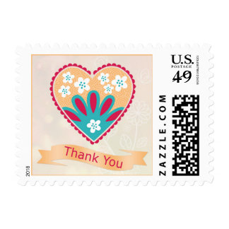 Floral heart Wedding Thank You Postage