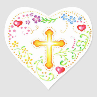 Floral Heart with Cross Heart Sticker