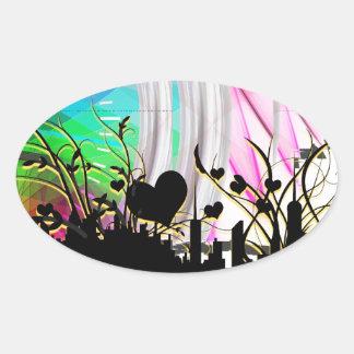 Floral Hearts Blossom Vines City Destiny Gardens Oval Sticker