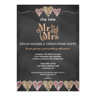Floral Hearts Chalkboard Post Wedding Invitation