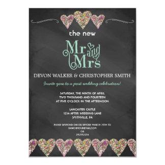 "Floral Hearts Chalkboard Post Wedding Invitation 4.5"" X 6.25"" Invitation Card"