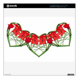 """Floral Hearts of Gladiola Flowers Skin Decal For 11"""" MacBook Air"""