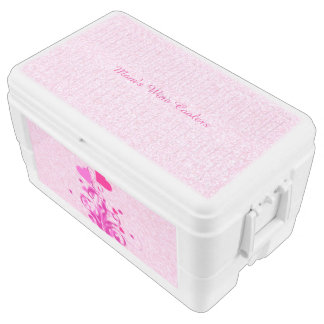 Floral Hearts on Sparkly Pink Igloo Chest Cooler