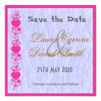 Floral Hearts Save the Date Custom Invitations