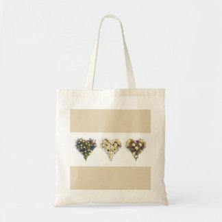 Floral hearts tote bag