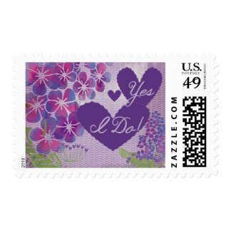 Floral Hearts Yes I Do Wedding Postage