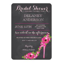 High heel shoes bridal shower invitations announcements zazzle floral heel bridal shower bachelorette invitation filmwisefo Images