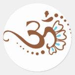 Floral Henna Om Round Sticker