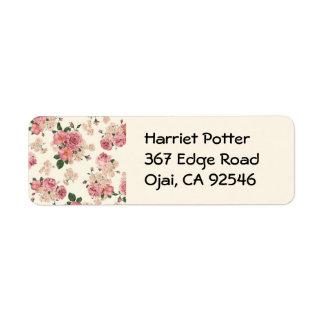 Floral hermoso subió vintage lindo del papel etiqueta de remite