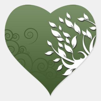 Floral hermoso y corazones en verde pegatina en forma de corazón