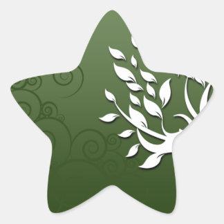 Floral hermoso y corazones en verde pegatina en forma de estrella