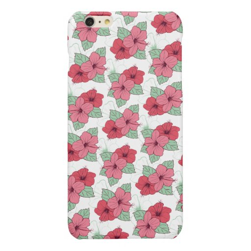 FLORAL HIBISCUS PATTERN DESIGN GLOSSY iPhone 6 PLUS CASE