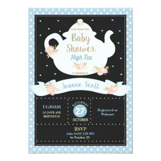 Floral High Tea Party Baby Shower Invitation Boy
