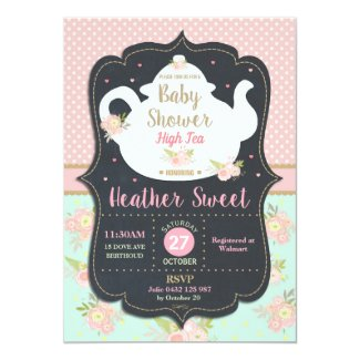 Floral High Tea Party Baby Shower Invitation Girl