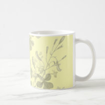 flower, flowers, floral, flora, art, design, garden, nature, subtle, pattern, gift, gifts, yellow, mug, mugs, Caneca com design gráfico personalizado