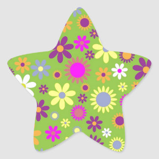 Floral Hipster Gifts Star Sticker