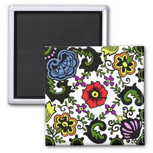 floral holandés del color antiguo imán para frigorifico