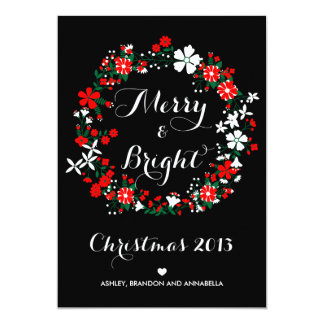 Floral Holiday Wreath Christmas 2013 Flat Card