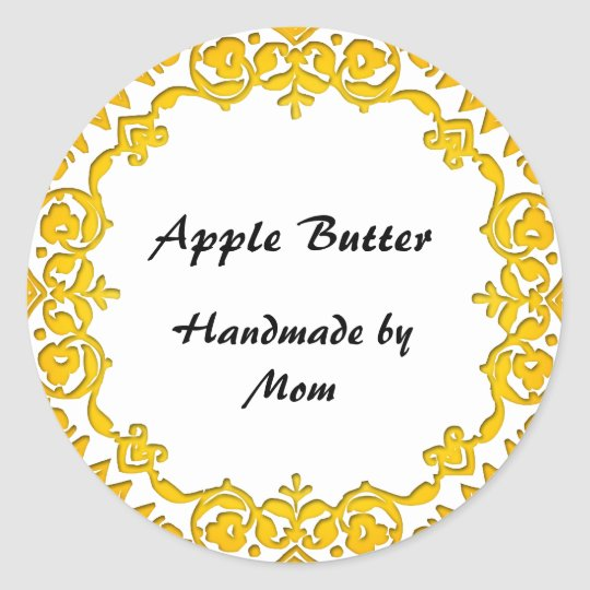 Floral Home Business Canning Soap Labels Yellow