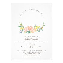 Floral Hoop Watercolor | Feminine Bridal Shower Invitation