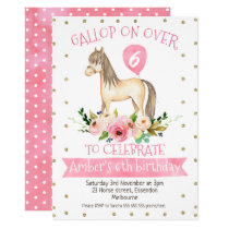 Floral Horse Birthday Party Invitation