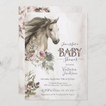 Floral Horse Ranch Baby Shower Invitation