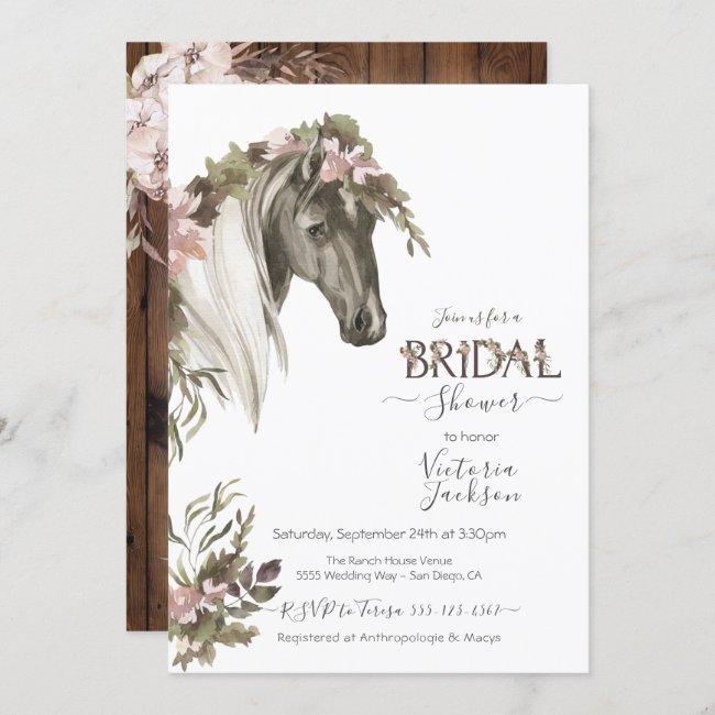Floral Horse Ranch Bridal Shower Invitation