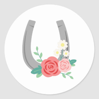 Floral Horse Shoe Classic Round Sticker