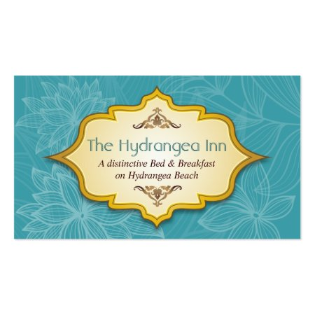 Pretty Floral Blue Turquoise Hospitality Bed and Breakfast Business Cards