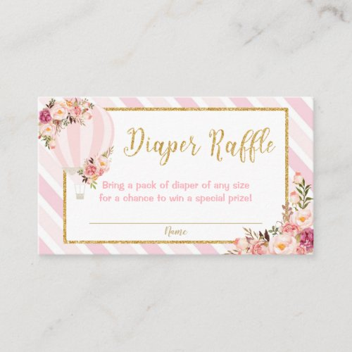Floral Hot Air Balloon Diaper Raffle Enclosure Card