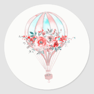 Floral Hot Air Balloon Easter Brunch Spring Party Classic Round Sticker