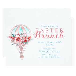 Floral Hot Air Balloon Easter Brunch Spring Party Invitation
