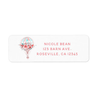 Floral Hot Air Balloon Easter Brunch Spring Party Label