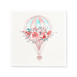 Floral Hot Air Balloon Easter Brunch Spring Party Napkin
