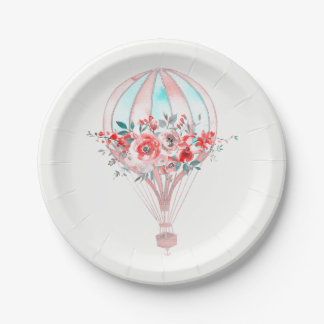 Floral Hot Air Balloon Easter Brunch Spring Party Paper Plate