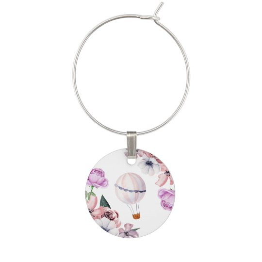 floral hot air balloon traveling bridal shower wine charm