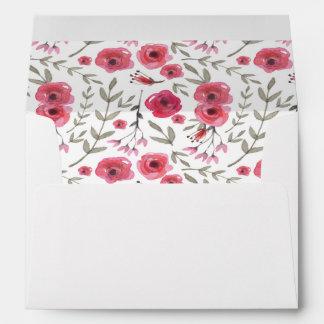 Floral hot pink envelope
