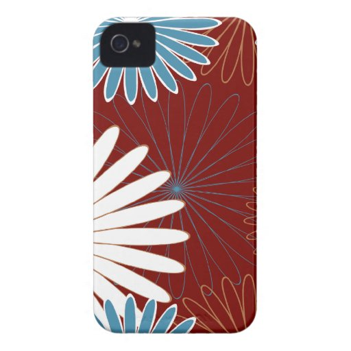 floral hot red and blue iPhone 4 Case-Mate case