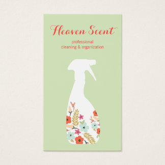 Floral Housekeeping Eco Cleaning Service Business Card